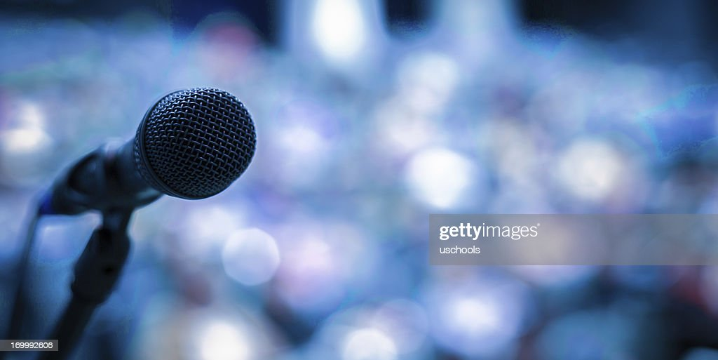 Microphone on the stage : Stock Photo