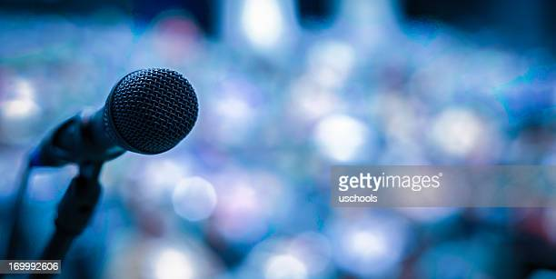microphone on the stage - press conference stock pictures, royalty-free photos & images