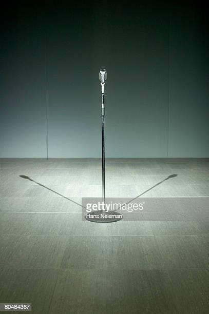 Microphone on tiled floor, close-up