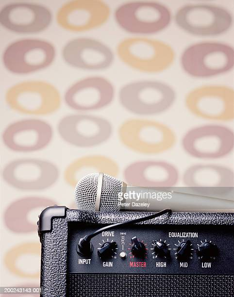 Microphone on top of amplifier, close-up