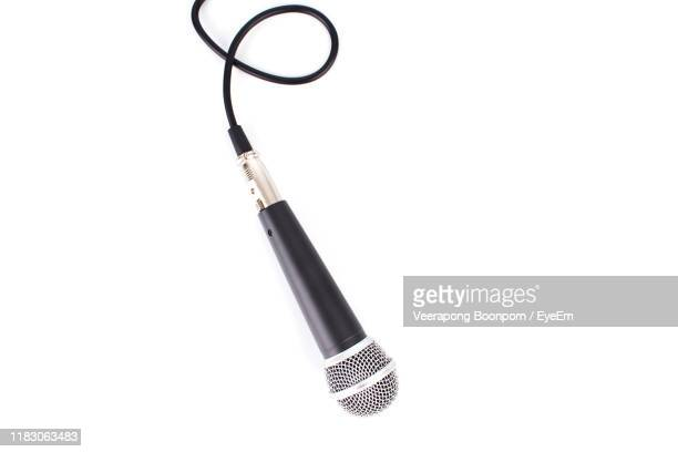 microphone on white background - microphone stock pictures, royalty-free photos & images