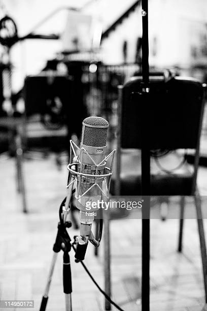 A microphone set out in Studio Two at Abbey Road in London ready for a recording session by the London Philharmonic Orchestra 13th May 2011
