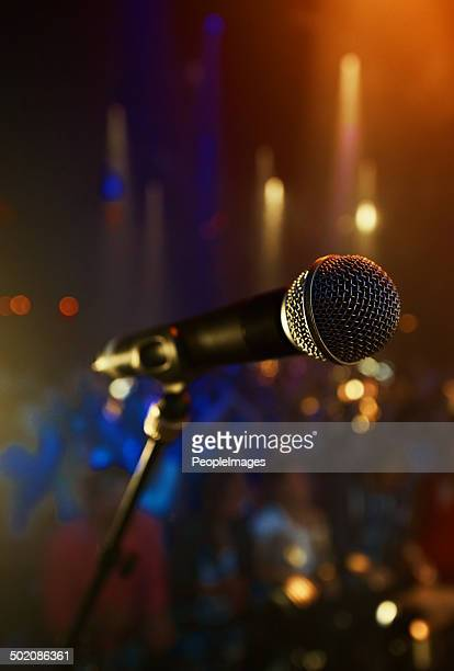 magic happens on the mike - microphone stand stock photos and pictures
