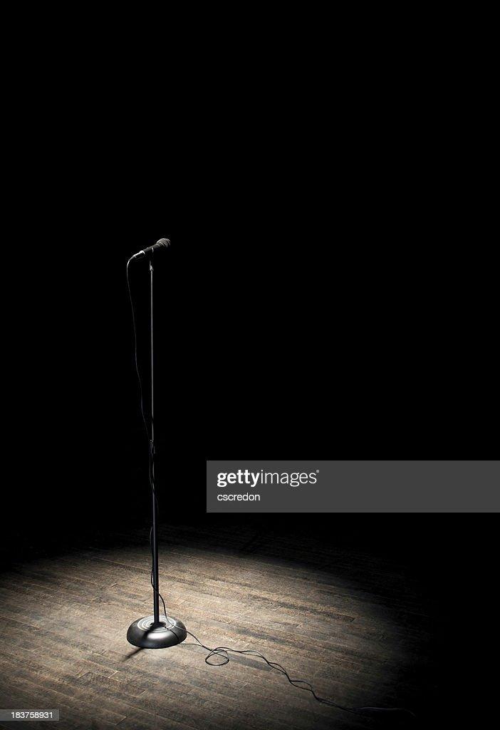 microphone under spotlight : Stock Photo