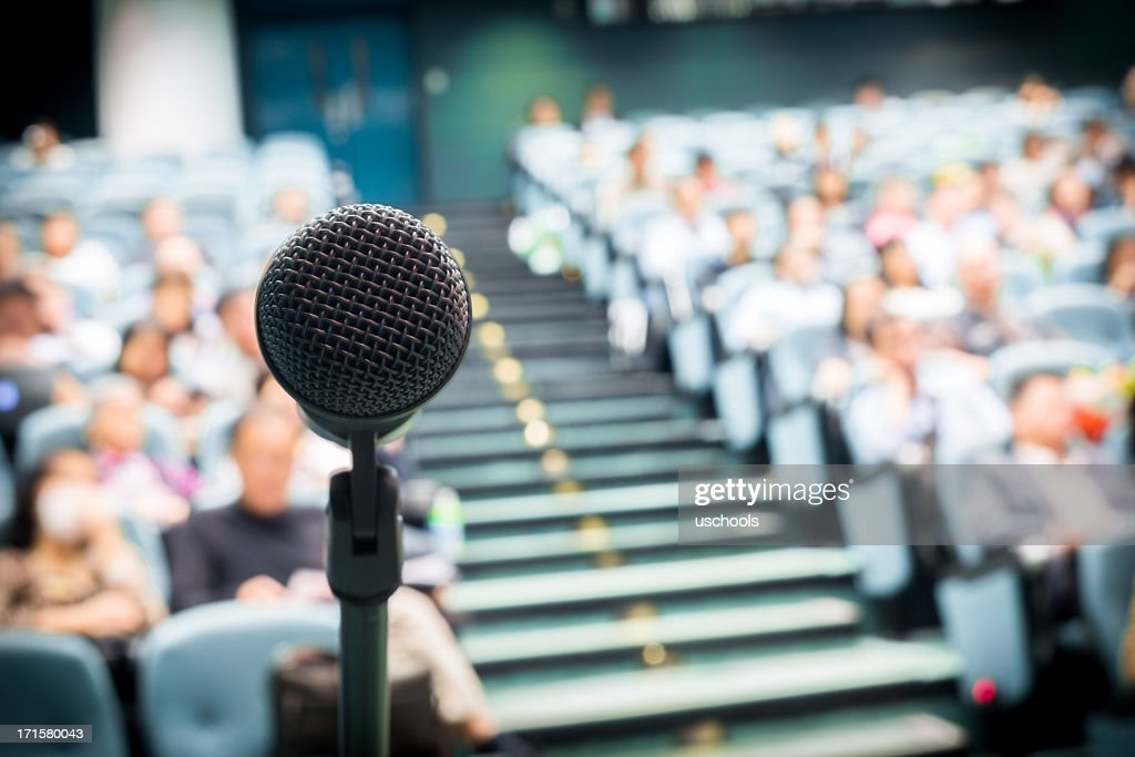 Microphone with Crowd : Stock Photo