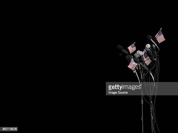 Microphones and american flags