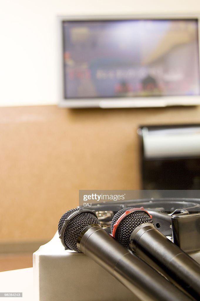 Microphones at karaoke bar : Stock Photo