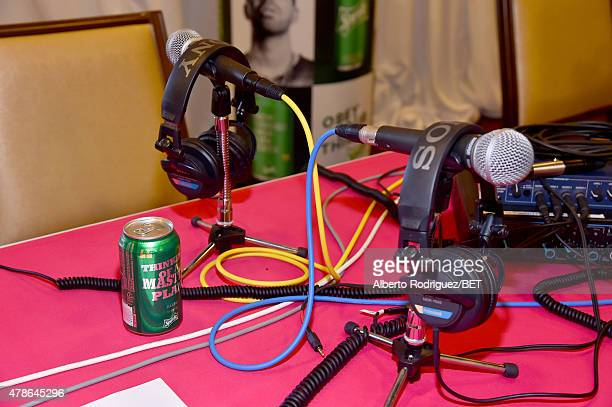 Microphones at the ready during day 1 of the radio broadcast center during the 2015 BET Experience on June 26 2015 in Los Angeles California