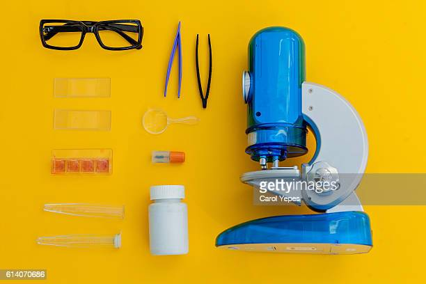 Microscope and related objects used for scientific study.