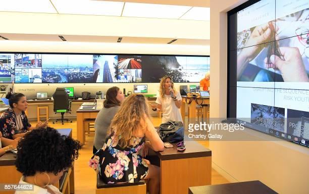 Microsoft ambassador Ariela Suster speaks during Microsoft Participation at Hispanicize LA at the Microsoft Store Westfield Century City on October 4...