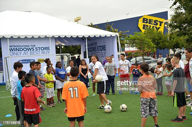 Microsoft and Best Buy celebrate the grand opening of the Windows Store Only at Best Buy with Major League Soccer players showing customers how to...