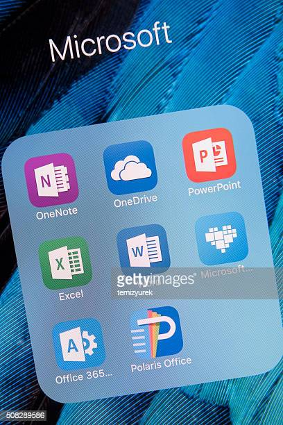 microsoft  apps on apple iphone 6s plus screen - single word stock pictures, royalty-free photos & images