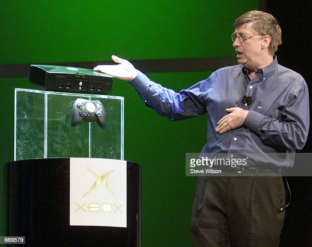 Microsoft CEO Bill Gates unveils the new Xbox game console January 6, 2001 at the 2001 Consumer Electronics Show VIP's at the Hilton in Las Vegas, NV.