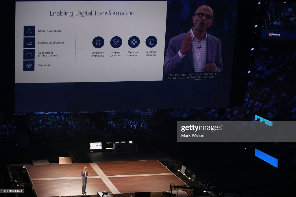 Microsoft CEO Satya Nadella gives the 'Vision Keynote' speech during