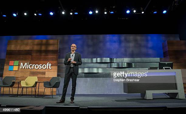 Microsoft CEO Satya Nadella speaks during the company's annual shareholders meeting on December 2 2015 in Bellevue Washington In addition to...