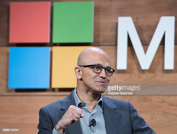 Microsoft CEO Satya Nadella speaks during the 'Question and Answer' session of the Microsoft Annual Shareholders meeting on December 2 2015 in...