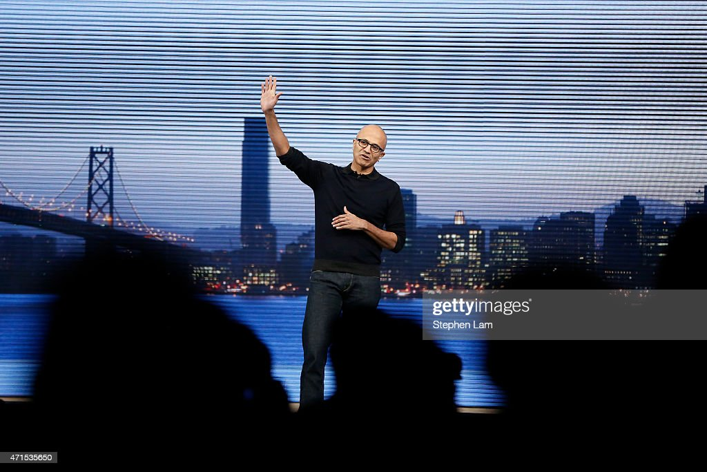 Microsoft CEO Satya Nadella waves goodbye to the audience during a keynote at the 2015 Microsoft Build Conference on April 29, 2015 at Moscone Center in San Francisco, California. Thousands are expected to attend the annual developer conference which runs through May 1.