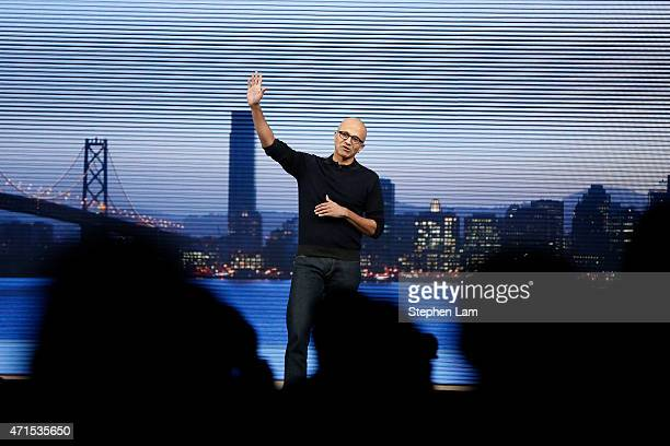 Microsoft CEO Satya Nadella waves goodbye to the audience during a keynote at the 2015 Microsoft Build Conference on April 29 2015 at Moscone Center...