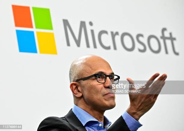 Microsoft CEO Satya Narayana Nadella speaks during a socalled FiresideChat with the CEO of German carmaker Volkswagen where they unveiled their...