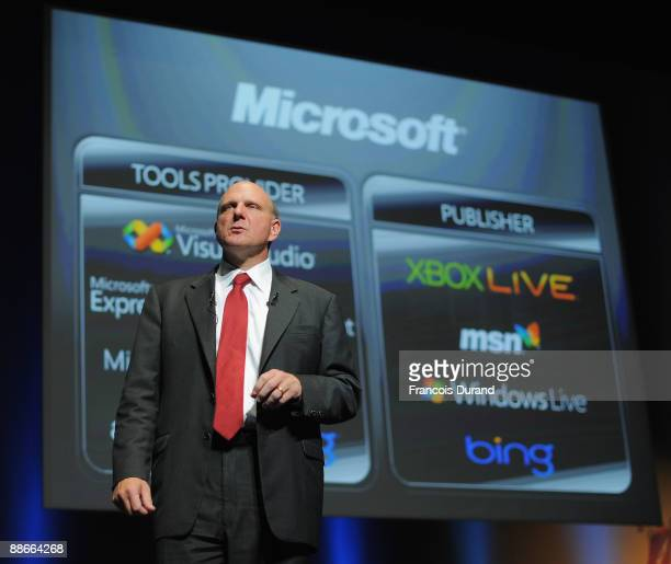 Microsoft CEO Steve Ballmer gives a speech during the Microsoft Advertising Seminar as part of the 56th Cannes Lions International Advertising...