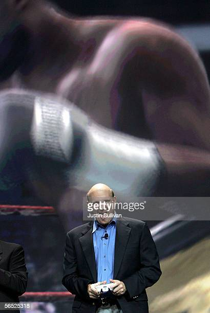 Microsoft CEO Steve Ballmer reacts while playing the XBOX game Fight Night Round 3 with Microsoft Chairman Bill Gates during the opening keynote...