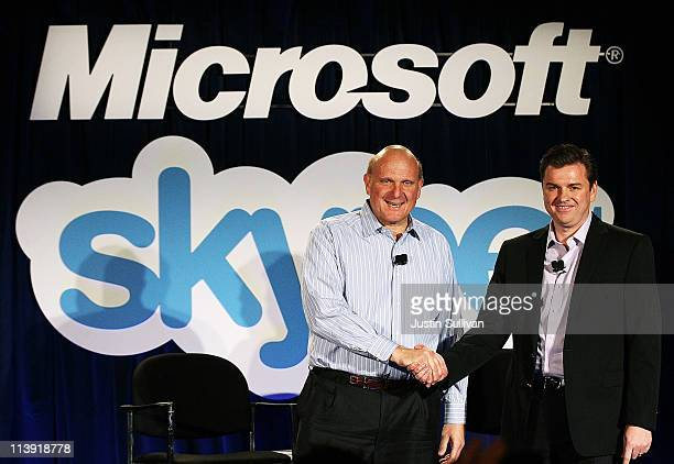 Microsoft CEO Steve Ballmer shakes hands with Skype CEO Tony Bates during a news conference on May 10 2011 in San Francisco California Microsoft has...