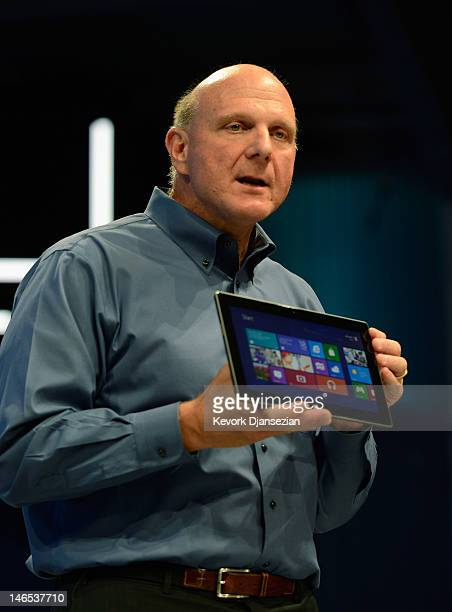 Microsoft CEO Steve Ballmer shows the new tablet called Surface during a news conference at Milk Studios on June 18 2012 in Los Angeles California...
