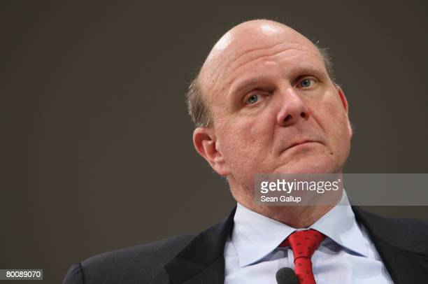 Microsoft CEO Steve Ballmer speaks at a press conference at the CeBIT technology fair a day before the fair's official opening on March 3 2008 in...