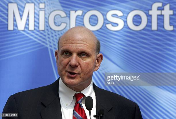Microsoft CEO Steve Ballmer speaks during a media conference on May 22 2006 in Beijing China Microsoft Corp is actively seeking to increase its...