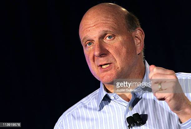 Microsoft CEO Steve Ballmer speaks during a news conference about Microsoft's purchase of Skype on May 10 2011 in San Francisco California Microsoft...