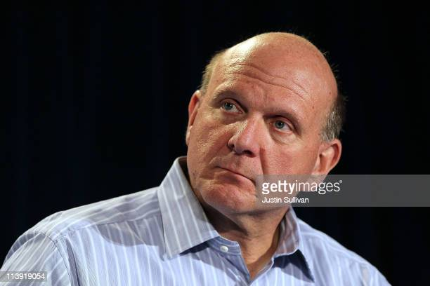 Microsoft CEO Steve Ballmer speaks during a news conference about the purchase of Skype on May 10 2011 in San Francisco California Microsoft has...