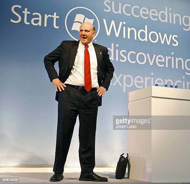 Microsoft CEO Steve Ballmer speaks during a news conference at Mobile World Congress in Barcelona on February 16 2009 The GSMA represents the...
