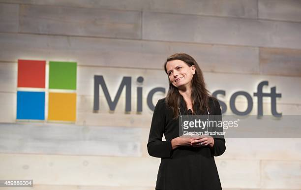 Microsoft CFO Amy Hood addresses shareholders during the Microsoft Shareholders Meeting December 3 2014 in Bellevue Washington The meeting as first...