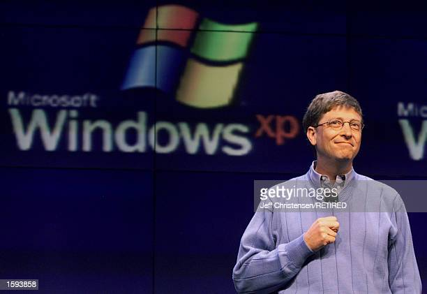 Microsoft chairman and chief software architect Bill Gates talks to members of the media about Windows XP operating system February 13 2001 in...