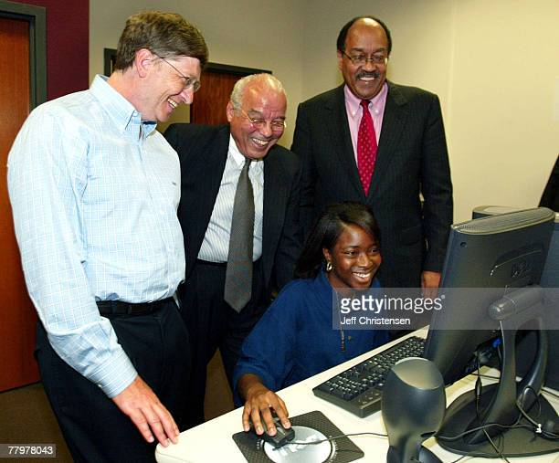 Microsoft Chairman and Chief Software Architect Bill Gates, Xavier University president Norman Fracis, and United Negro College Fund president and...