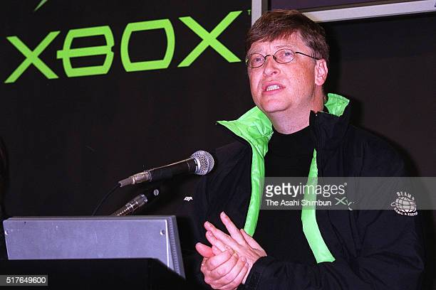 Microsoft Chairman Bill Gates addresses prior to the launch of the Xbox on February 22, 2002 in Tokyo, Japan.