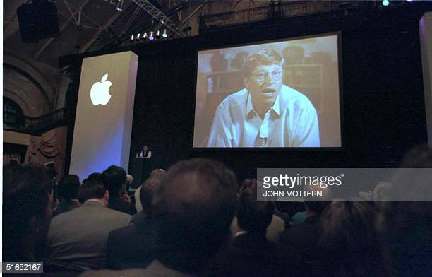 Microsoft Chairman Bill Gates addresses the Macworld Expo in Boston via phone link after Steve Jobs announced 06 August he will join the board of...