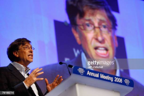 Microsoft Chairman Bill Gates attends the second day of the World Economic Forum January 24 2008 in Davos Switzerland Some of the World's top...