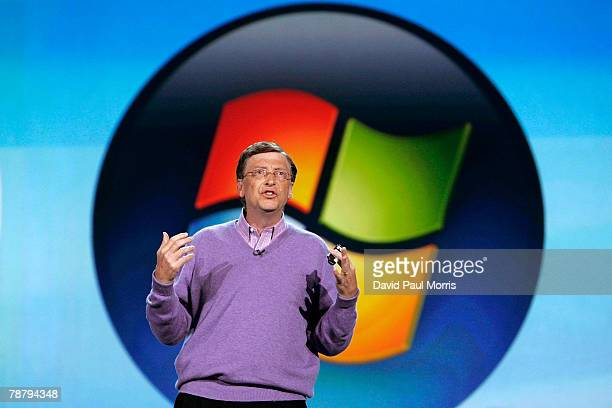 Microsoft chairman Bill Gates delivers the opening keynote address at the 2008 International Consumer Electronics Show at the Venetian January 6,...
