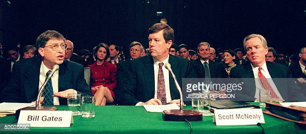 Microsoft Chairman Bill Gates makes a point during his testimony as Sun Microsystems Chairman Scott McNealy and Netscape Communications Chairman...