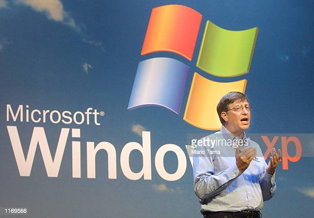 Microsoft Chairman Bill Gates speaks at the product launch of the new Windows XP operating system October 25 2001 in New York City Windows XP went on...