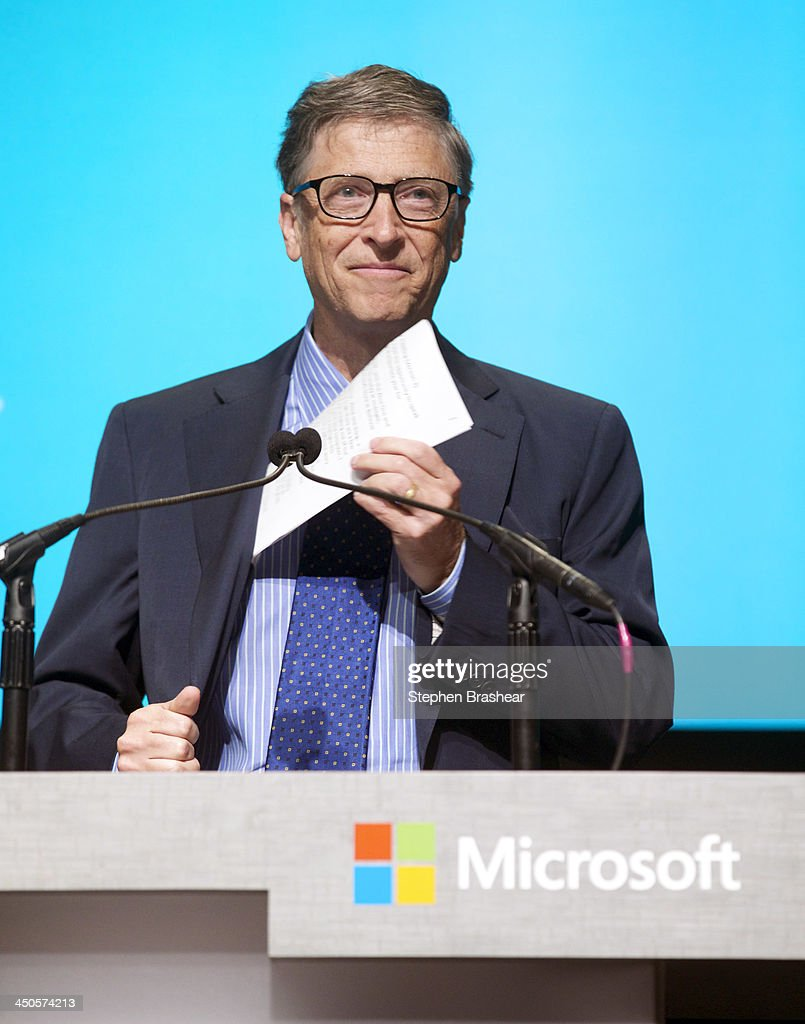Microsoft Chairman Bill Gates takes out his notes before addressing shareholders during the Microsoft Shareholders Annual Meeting November 19, 2013 in Bellevue, Washington. Gates spoke about the search for the next CEO to replace current CEO Steve Ballmer.