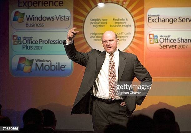 Microsoft Chairman Steve Ballmer speaks during a presentation introducing the availability of the Windows Vista operating system November 30 2006 at...