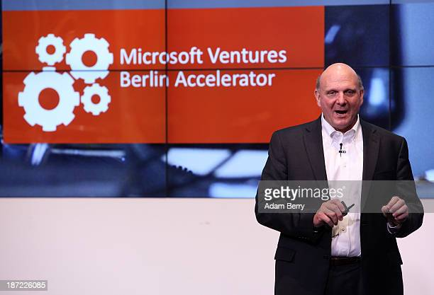 Microsoft Chief Executive Steve Ballmer speaks at the opening of the Microsoft Center Berlin on November 7 2013 in Berlin Germany The Microsoft...