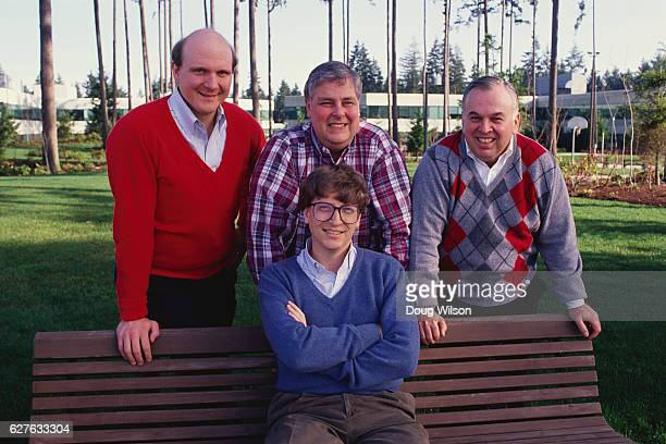 Microsoft cofounder and CEO Bill Gates with other Microsoft executives Steve Ballmer and Mike Maple