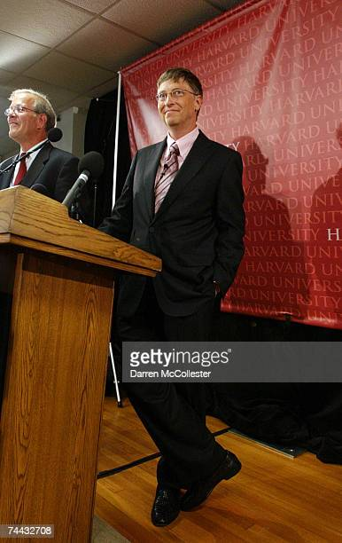 Microsoft cofounder and Chairman Bill Gates prepares to give a press conference following his commencement speech at Harvard University June 7 2007...