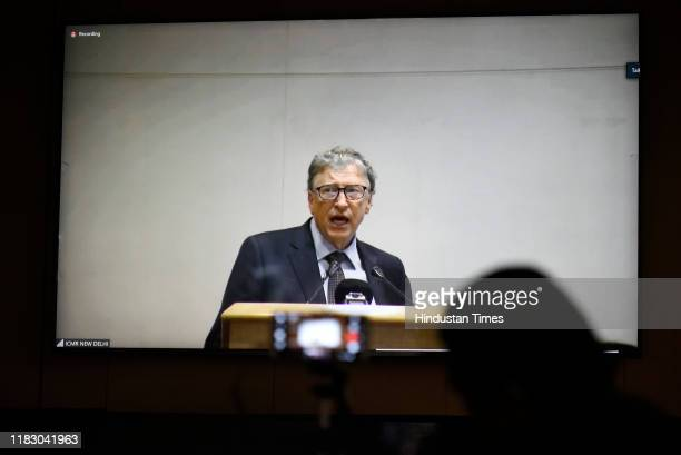 Microsoft cofounder and philanthropist Bill Gates addresses the audience during a lifetime achievement award ceremony for outstanding contribution in...