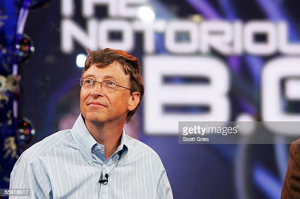 Microsoft cofounder Bill Gates appears onstage during an MTV News presentation of The Notorious BG A Forum With Bill Gates at the MTV Studios October...