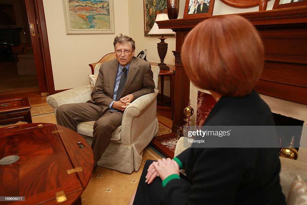 Microsoft co-founder, Bill Gates meets with Australian Prime Minister Julia Gillard at The Lodge on May 28, 2013 in Canberra, Australia. Bill Gates is in Canberra today to lobby the government for increased spending on foreign aid. The Labor government announced it will slow it's growth in foreign aid spending after a $19.4AUD billion budget deficit was revealed in May.