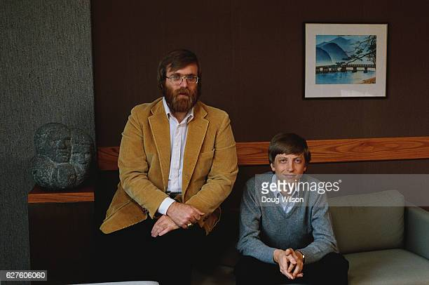 Microsoft Cofounders Bill Gates and Paul Allen pose for a portrait in 1984 in Seattle Washington